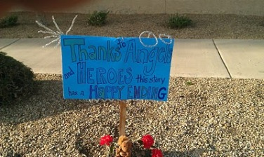 A roadside sign with a happy ending.
