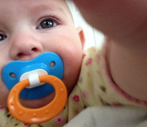 Six-month old's first selfie.