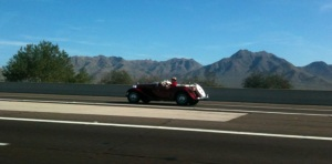 Cute car I spotted on the North loop 101 headed west. Don't worry, my passenger snapped the pic.