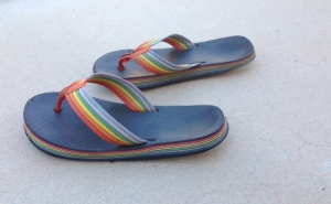 These particular footwear were known as thongs (made in the 70s and 80's)