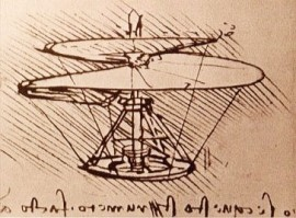 Leonardo's sketch of a flying machine.