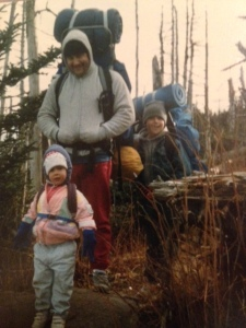 One of our backpacking adventures in North Carolina, I think.