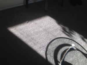 A glass table adding dimension to the shadow.